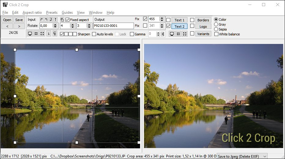 Click 2 Crop for Windows screenshot